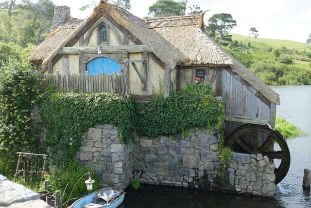 A watermill and a tiny hobbit's boat