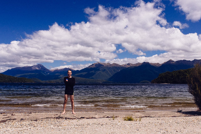 Jakub having a dip in the Lake Manapouri