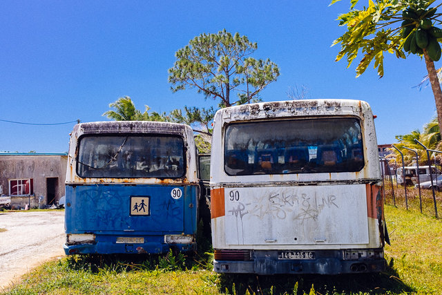 Bus wrecks were all around the island