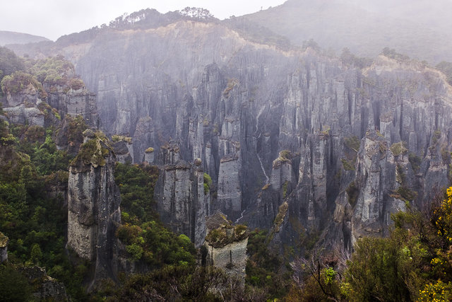 The pinnacles cover in mysterious mist