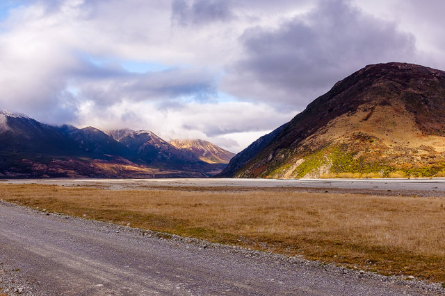 A turn-off to Waimakariri River