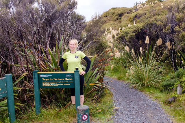 Beginning of the Tongariro Northern Circuit -- Bara is fresh and excited