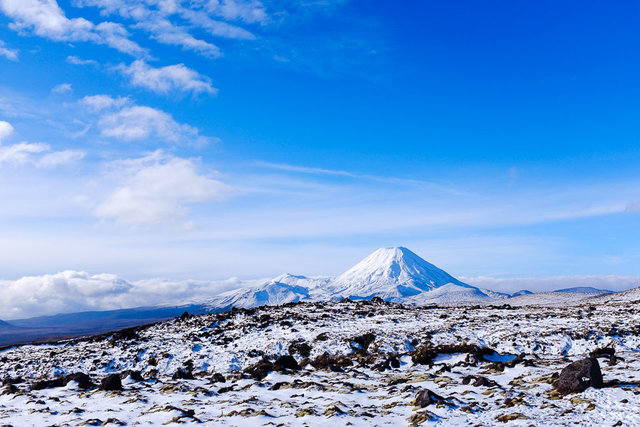 Mt Ngauruhoe with the snowfields