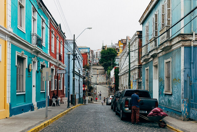 One of colourful streets of Valparaíso