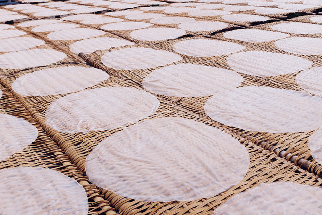Rice paper drying on the sun
