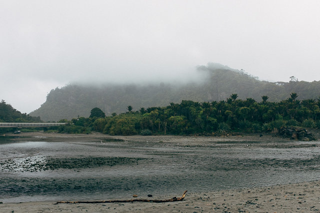 Foggy hills around Punakaiki river